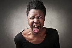 Anger. African woman with angry expression Royalty Free Stock Photo
