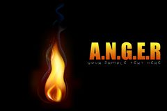 Anger Background. Illustration of glowing fire flame on conceptual anger background Stock Image
