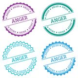 Anger badge isolated on white background. Flat style round label with text. Circular emblem vector illustration Stock Photo