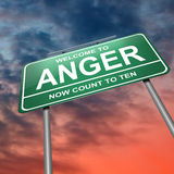 Anger concept. Illustration depicting an illuminated green roadsign with an anger concept. Dramatic sky background Stock Photo
