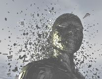 Anger concept with 3d futuristic person shattered into pieces. Render illustration Stock Images