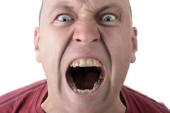 Anger. Facial Expression shouting screaming man isolated on a white background Stock Image