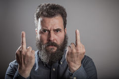 Anger finger gesture, Huge beard portrait, mature adult Caucasia Stock Images