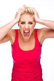 Anger, Frustration - Woman Screaming at Camera Royalty Free Stock Photos