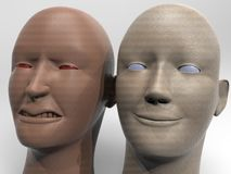 Anger and hapiness 3d rendering. Anger and hapiness - different poins of view Royalty Free Stock Image