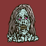 Anger head of zombie woman. Vector illustration. Royalty Free Stock Photo