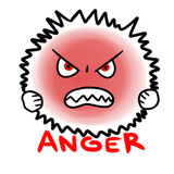 Anger. Illustration of one of the basic human emotions - anger. Red creature with angry expression on its face - frowning with clenched teeth and fists. Isolated Stock Images