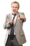 Anger man in suit shouts Royalty Free Stock Image
