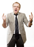 Anger man in suit shouts Royalty Free Stock Images