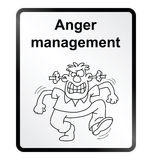 Anger Management Information Sign. Monochrome anger management public information sign isolated on white background Stock Photos