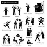 Anger Management Stick Figure Pictogram Icons. Stock Image