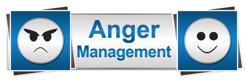 Anger Management Two Button Style. Banner image with anger management text and conceptual symbols Royalty Free Stock Photography