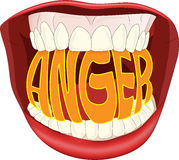 Anger. Modern illustration of the word anger in an open mouth Stock Photo