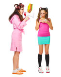 Anger mother screams to her daughter. Isolated Stock Images