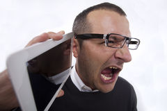 Anger on the phone Stock Photo