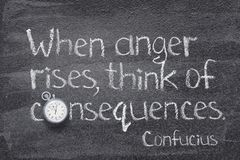 Anger rises Confucius. When anger rises, think of the consequences - ancient Chinese philosopher Confucius concept quote written on chalkboard stock photography