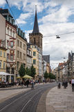 Anger Street in Erfurt Germany. ERFURT, GERMANY - JULY 23: Anger street on July 23, 2015 in Erfurt, Germany. People are walking in the city center Royalty Free Stock Images