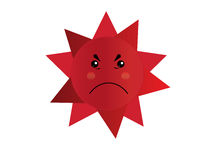 Anger Sun Cartoon Vector Isolate Royalty Free Stock Photography