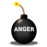 Anger Warning Shows Dangerous Unhappy And Bomb Royalty Free Stock Images