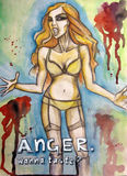 Anger. Watercolor drawing of a woman body. Anger: wanna taste Royalty Free Stock Photos