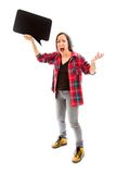 Anger woman holding a blank speech bubble Royalty Free Stock Image
