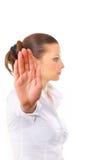 Anger woman signaling stop Stock Image