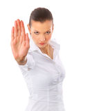 Anger woman signaling stop sign Stock Photo