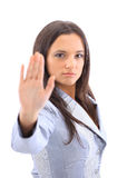 Anger woman signaling stop sign Stock Images