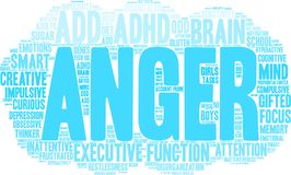 Anger Word Cloud. Anger ADHD word cloud on a white background Stock Photos