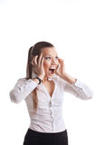 Anger young business woman scream on cell Royalty Free Stock Image