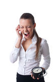 Anger young business woman scream on time limit Royalty Free Stock Image