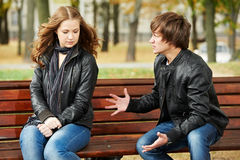 Anger in young people relationship conflict Royalty Free Stock Images
