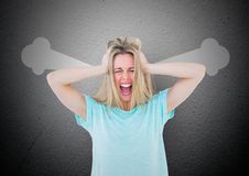 anger young woman shouting with steam on ears and hand on head. Royalty Free Stock Images