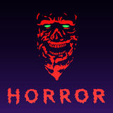 Anger zombie face in red color. Vector illustration. Stock Photo