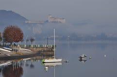 Angera castle seen from Arona, lake (lago) Maggiore Royalty Free Stock Photos