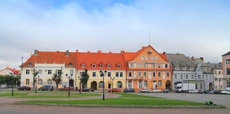 Angerap旅馆在Ozyorsk街市在德国建筑的大厦的 库存图片