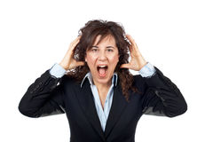 Angered businesswoman. Over a white background Stock Image