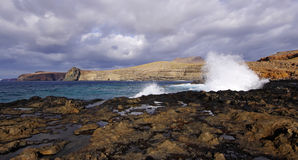Angered waters of the coast of Gran Canaria. Spain Royalty Free Stock Photos