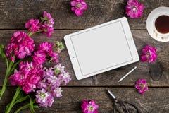 Angeredete scheinbare hohe flatlay Fotografie auf Lager unter Verwendung eines handgemalten Hintergrundes, eines Tablettengerätes Lizenzfreies Stockbild