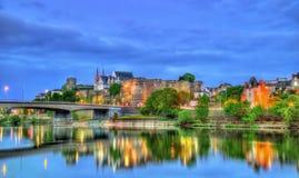 Angers Castle και ο ποταμός του Μαίην στη Γαλλία Στοκ φωτογραφία με δικαίωμα ελεύθερης χρήσης