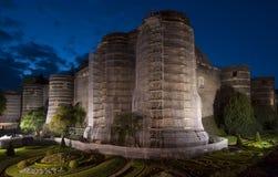 Angers Castle τη νύχτα, Γαλλία Στοκ Εικόνες