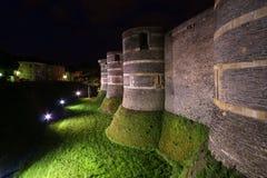 Angers Castle τη νύχτα, πόλη της Angers, Γαλλία Στοκ Φωτογραφία