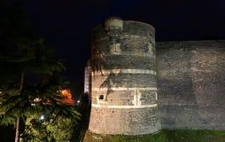 Angers Castle τη νύχτα, πόλη της Angers, Γαλλία Στοκ Εικόνες
