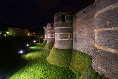 Angers Castle at night , Angers city, France Stock Photography