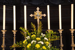 Angers Cathedral altar detail. Detail of the main altar with a cross and some candles. France Series Royalty Free Stock Photo