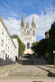 Angers Cathedral facade Stock Photography