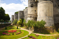 Angers Chateau and garden. Exterior view of Angers Chateau.France Series royalty free stock image