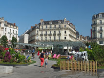 Angers, France, july 2013, town center square summer decoration Stock Photos