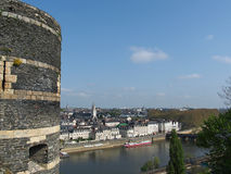 Angers, Maine riverbank, anjou, France. Angers north side of the maine, with a tower of the medieval castle in the foreground Royalty Free Stock Photo
