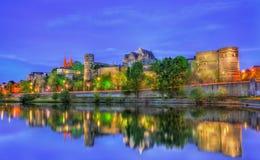 Angers slott och Maine River i Frankrike Royaltyfri Fotografi